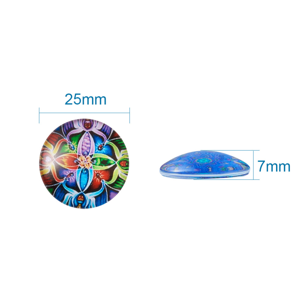 Image 5 - 200pc Mixed Color Mosaic Printed Glass Half Round/Dome Cabochons Jewelry Findings for DIY 10mm 12mm 14mm 16mm 18mm 20mm 25mm-in Jewelry Findings & Components from Jewelry & Accessories