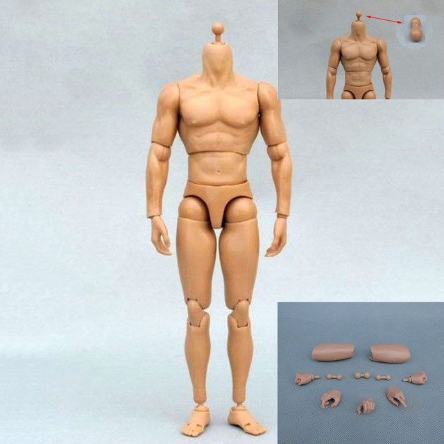1:6 Scale Male Soldier Toys Figure Accessory Nude Body Figures Narrow Shoulder Military Soldiers Nude Muscle Body