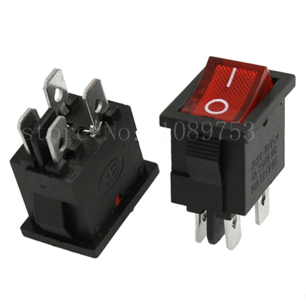 50pcs Red Light 4 Pin DPST ON-OFF Snap In Boat Rocker Switch 6A 250V 10A 125V AC on the open shanghai wing star ship switch kcd6 21n f ip65 waterproof switch 6a 4 foot red 220v