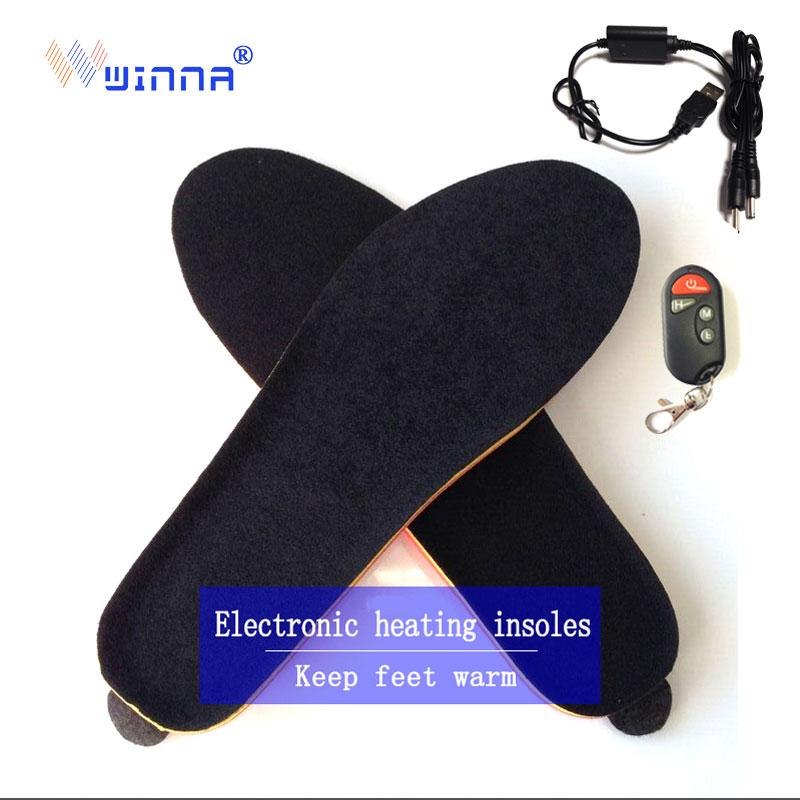 Nouvelles semelles intérieures de chauffage sans fil d'hiver avec télécommande femmes chaussures semelles de démarrage semelles de CAMPING de SKI pour femmes et hommes