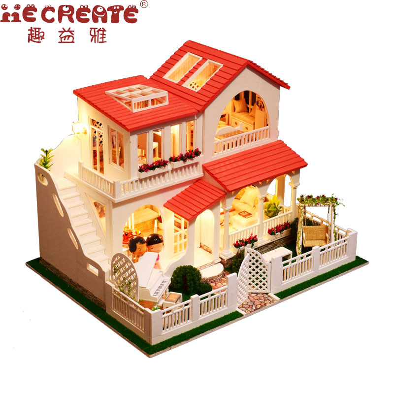 DIY Kid Doll House Toy Miniature Scale Model Puzzle Wooden Doll House With Furniture Nice Gift Pink Dream House Toy For Children diy wooden model doll house manual assembly house miniature puzzle handmade dollhouse birthday gift toy pandora love cake