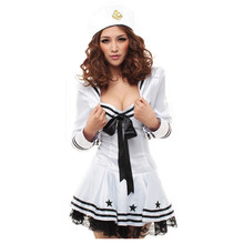a16883f67 Marinheiro Piratas conjunto desgaste completo aberto xxl branco pornô  fantasia mulheres sexy lingerie role-playing