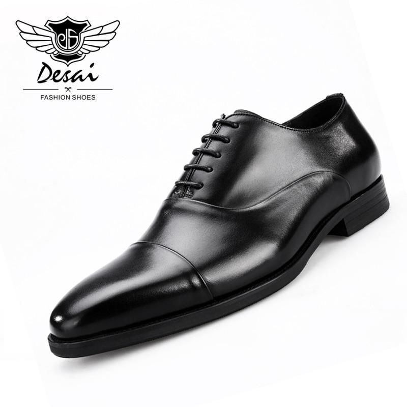 2019 NEW Men s Shoes Square Head British Handmade Shoes Business Suits Genuine Leather Shoes Men