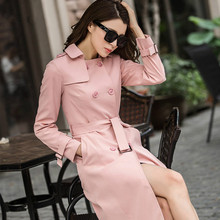 Women's Long Trench Coat 2016 Autumn New Fashion Solid Color Long Sleeve Double Breasted Trench Female Overcoat Casual Trench