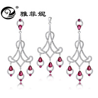 bohemia water drop pendant 925 silver jewelry set Crystal chandeliers bridesmaid jewelry sets for engagement