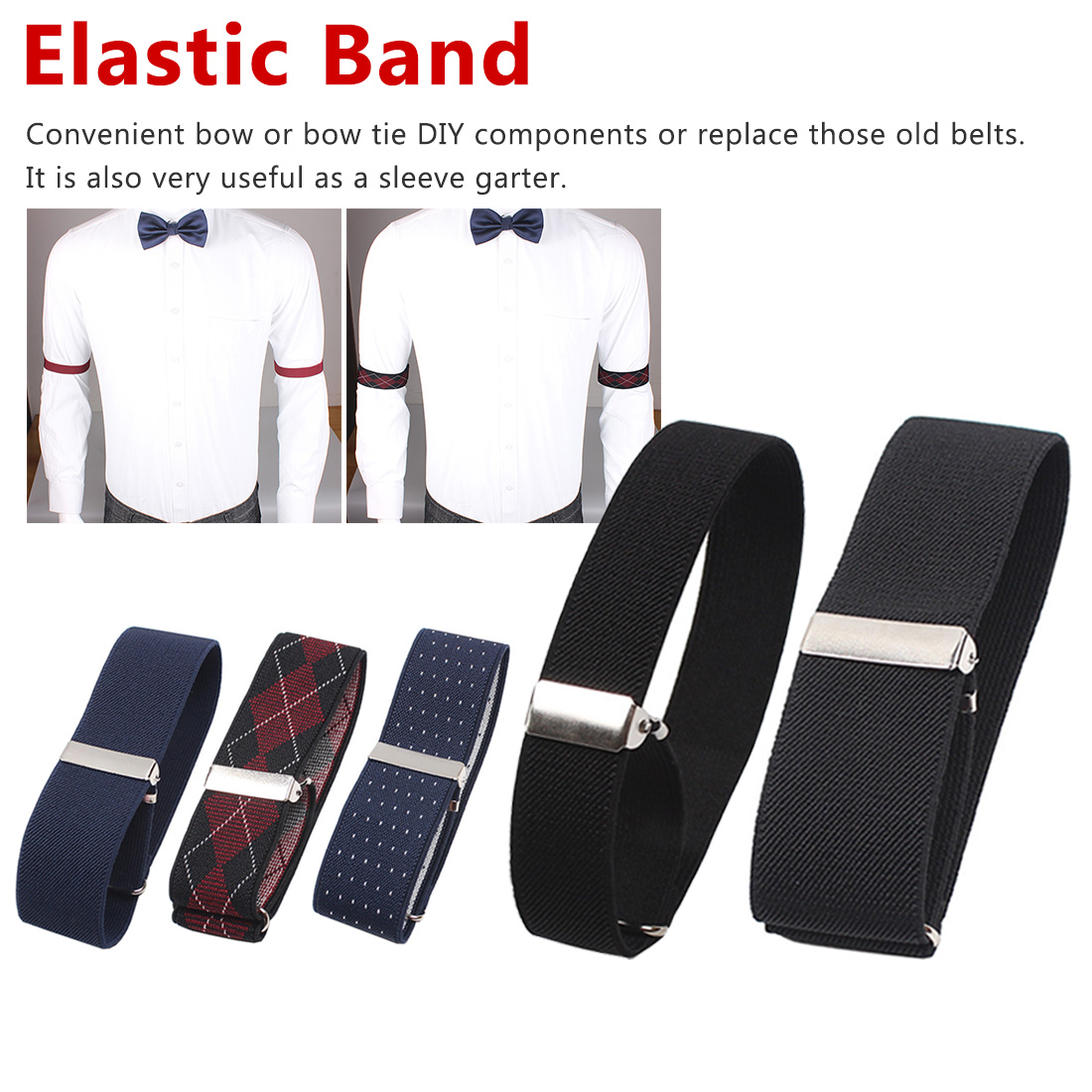 Men's Sleeve Garters Holders Arm Gentleman Bands Sleeve Shirt Groom Elastic Garter Metal Bracelet