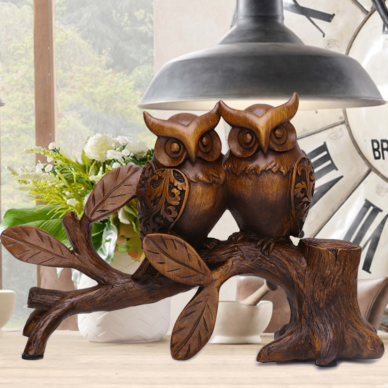 Vintage décor à la maison nordique résine artisanat animaux Figurines Europe salon accessoires hogar bureau décoration 2019 feng shui hibou