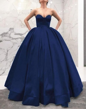 Vestido de Novia Navy Blue Fluffy Ball Gown Prom Dresses 2020 Glamorous Vintage Formal Party Dresses Sexy Evening Gowns