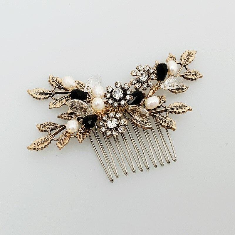 Dower mir Vintage Blatt Blume Haare Kämmen Braut Haar Reben