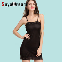 Women Full Slips REAL SILK lace slip Solid nude white black Anti emptied dress new underwear Comfortable sleep dress