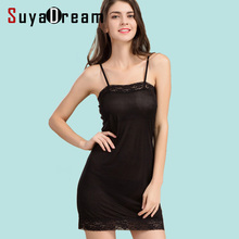 Women Full Slips REAL SILK lace slip Solid nude white black Anti emptied dress new underwear Comfortable sleep dress