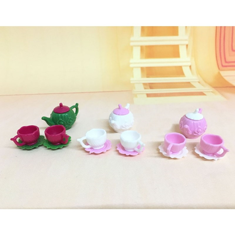 3pcs/set New Cute Tea Pot Cups Plates Set Dollhouse Decor Kitchen Classic Toy Pretend Play Best Gift Girl For Doll Accessiores