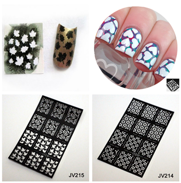 buy 12pcs sheet fall leaves nail stencil nail art vinyl for nail foil paper 1. Black Bedroom Furniture Sets. Home Design Ideas