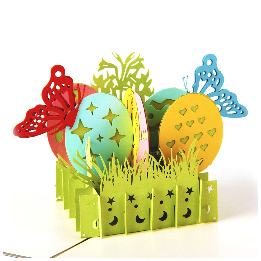 Perfect-3D pop-up laser cut butterfly egg postcard birthday happy greeting card