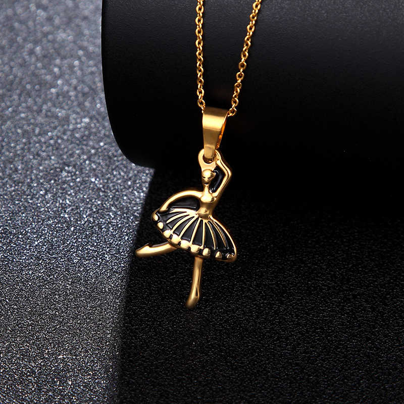 fashion Cute Ballet Titanium pendant Necklace Ballerina Figure Gold long and short chain Jewelry Lover girl festival charm Gift