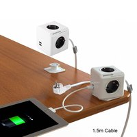 Allocacoc Extended PowerCube Socket DE Plug 4 Outlets Dual USB Adapter With 1 5m Cable Extension