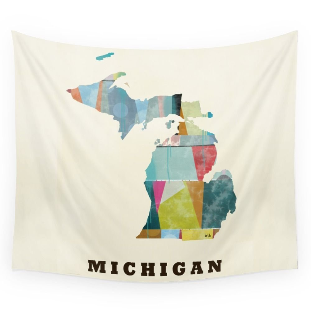Michigan State Map Modern Wall Tapestry Polyester Home Living Decor Space