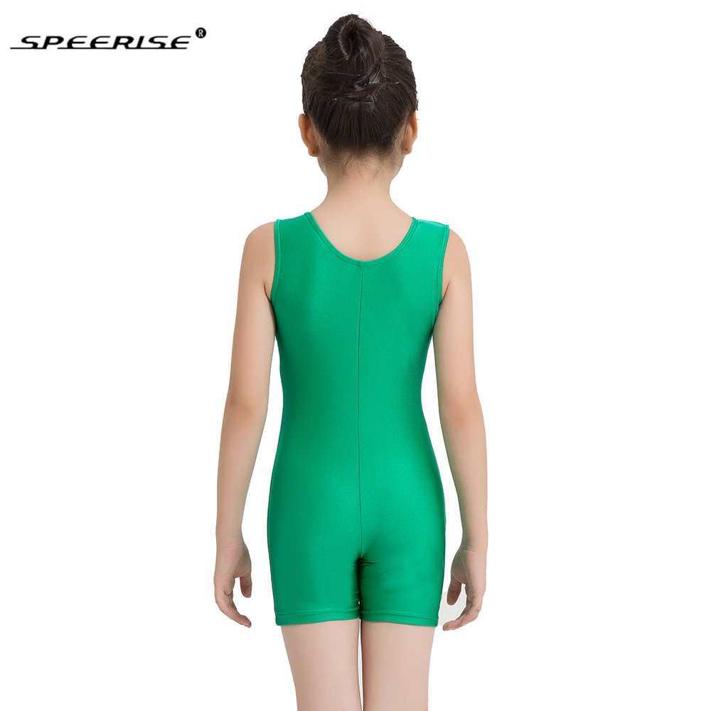 Image 5 - SPEERISE Kids Tank Shorty Unitard Child Biketard Green for Girls Gymnastics Leotard Toddler Ballet Latin Unitards Dance Wear-in Ballet from Novelty & Special Use