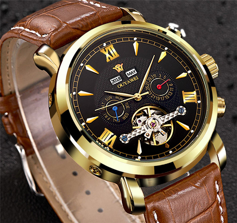 Mechanical Watch Mens Top Men\`s Automatic Mechanical Watches Wristwatch Leather watch relogio masculino (7)