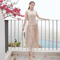 Hot verkoop 2017 zomer vrouwen kantoor jurk elegante Beige party jurken mouwloze kanten jurk