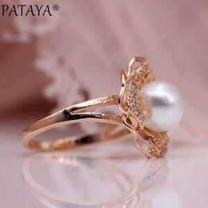 Image 5 - Pataya 새로운 화이트 쉘 진주 귀걸이 반지 세트 585 로즈 골드 여성 패션 쥬얼리 세트 자연 지르콘 할로우 불규칙한 고귀한