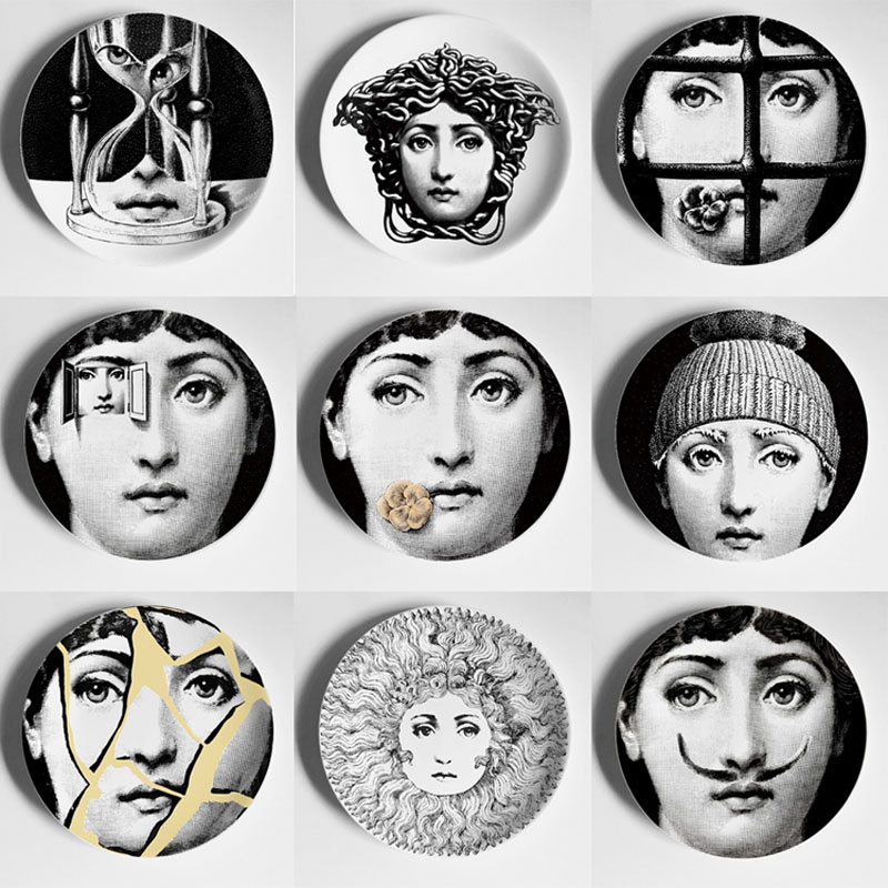 European Fornasetti Plates On The Wall Porcelain Decorative Plate Table Room Accessories Decor Hanging Ornament Gift for Friends