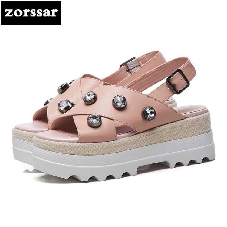 {Zorssar} 2018 New Fashion rhinestone Casual Flats Beach shoes Women Sandals Summer Shoes Women Open toe flat platform Sandals lypo women sandals 2018 new flat bottom open toe bow candy color sandals casual crystal jelly shoes women breathable flat shoes