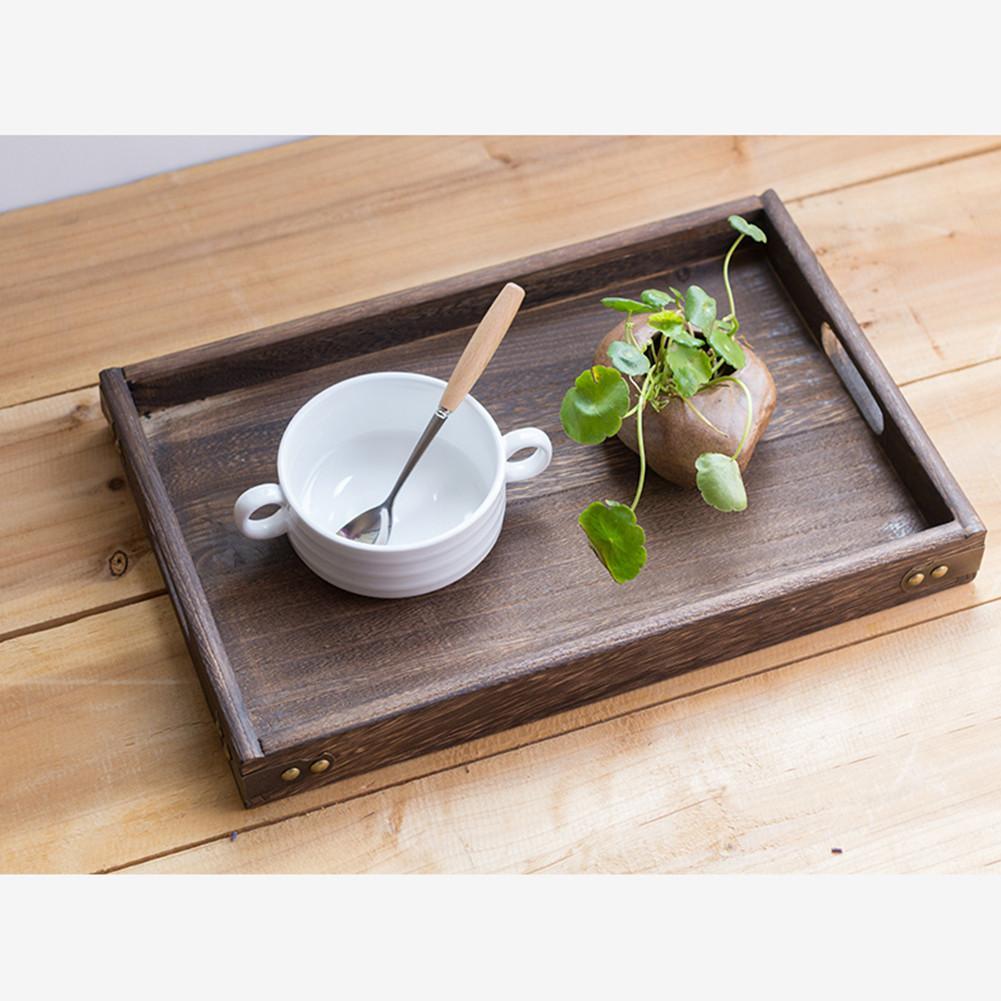 Ретро твердый деревянный сервировочный поднос столовая посуда для завтрака поднос для чая прямоугольная Фруктовая тарелка для закуски тарелки для дома отеля-5