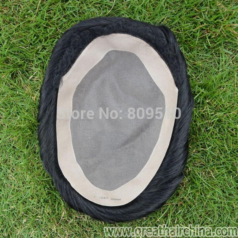Acquistare nastro Dare via Full Mono base del merletto + dell'unità di elaborazione, Naturale di Ricambio per gli uomini, nero naturale A Mano Legata Mono Filamento Mens di Base Parrucchino
