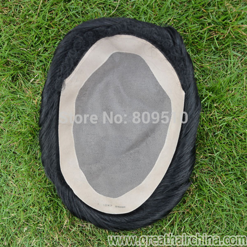 Buy tape Give away Full Mono lace base +pu, Natural Replacement for men, Natural