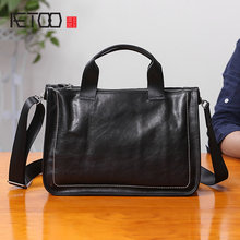 AETOO Leather handbag male Leather soft leather oblique cross bag business leisure mens head cowhide shoulder bag