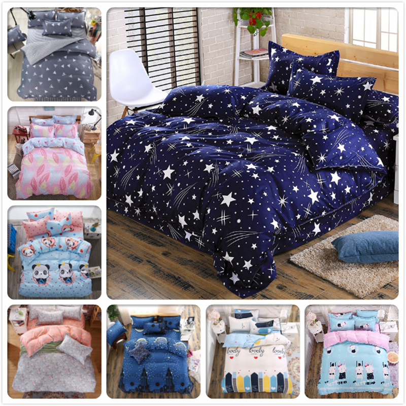 3D Bedding Sets Star Galxy Duvet Cover Blue White Grey 4pcs 3pcs Bed sheet Single Twin Full Queen Size Kids Boy geometric linens