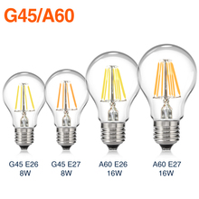 TSLEEN E27 E26 Edison Dimmable Filament LED Bulb Vintage Round Light G45/A60 Lamps Energy Saving Soft Lighting