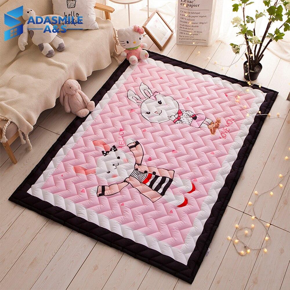 Nordic Kids Pink Room Decor Carpet Wave Quilted Tatami Mat Area Rug Bedroom Cartoon Rabbits Crawling Play Mat Living Room Carpet