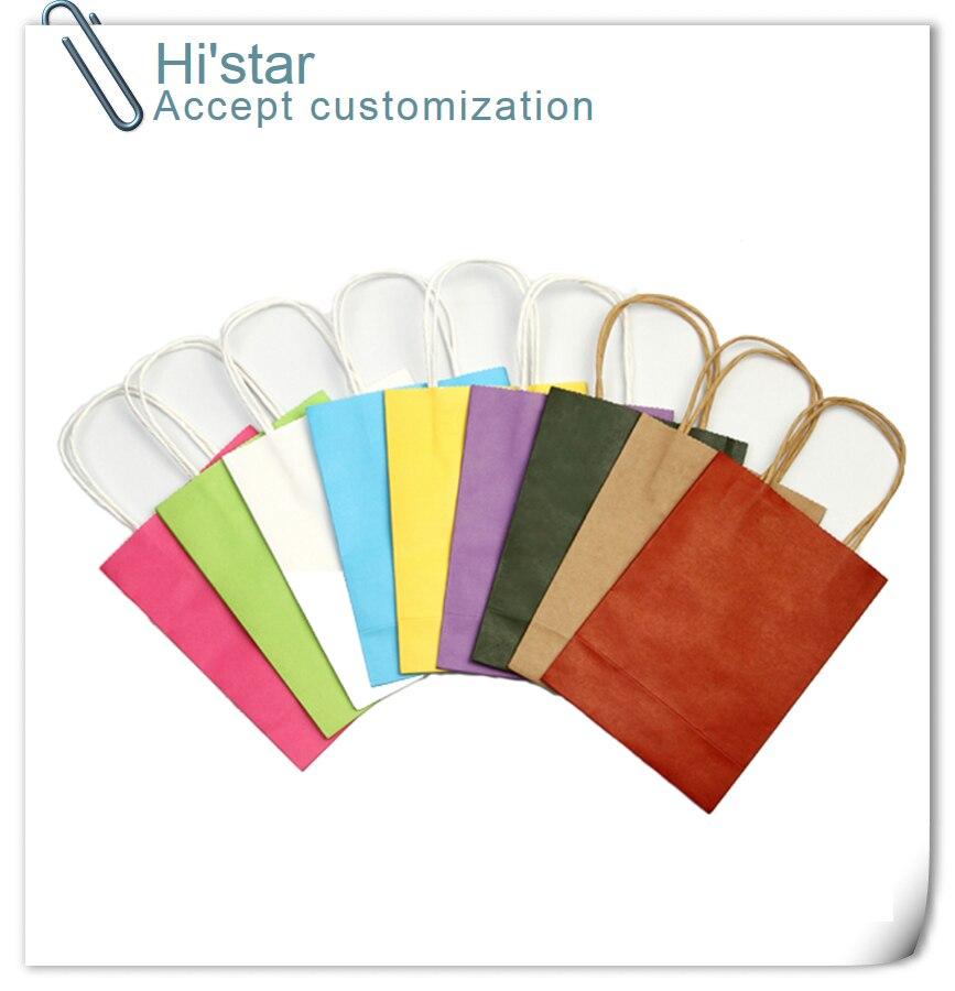 20 pieces Wholesale Promotion Kraft Paper shopping bag fashion Design Paper Shopping Bags Festival Gift Bags Handbags