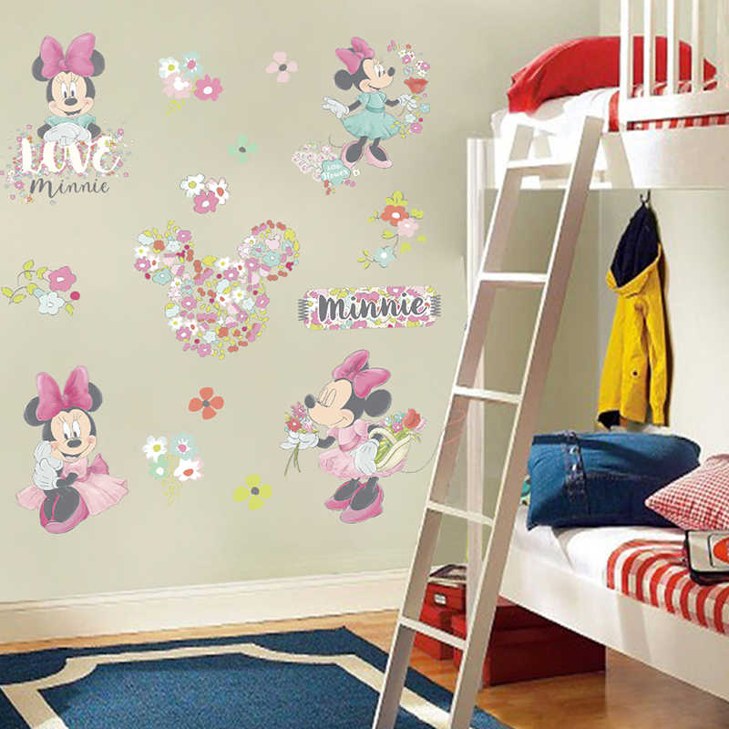 Lovely Disney Minie Mouse With Flower PVC Wall Stickers For Girls Room Party Decor Poster Cartoon Wall Mural Art Diy Home Decals