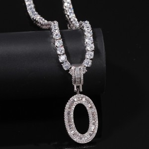 Image 3 - UWIN collier pendentif lettres Baguette anglaise avec 4mm, zircone cubique, chaînes de Tennis, bijoux hip hop à la mode pour hommes et femmes