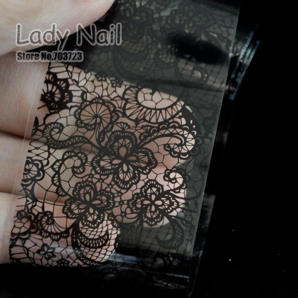 100cm x 4cm Black Lace Flowers Nail Art Transfer Foils Nail Sticker ...
