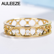 AULEEZE Jewelry Solid 18K Rose Gold Ring Natural Diamond Wedding Bands For Women Unique Window Grilles Matching Band