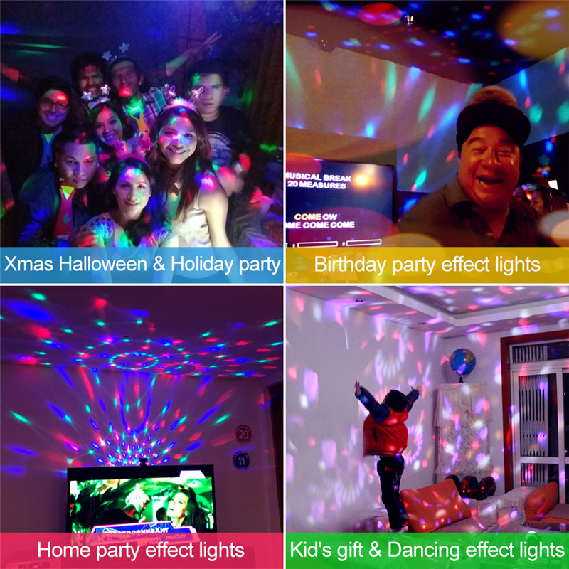 Купить с кэшбэком ZjRight IR Remote LED Crystal Rotating Ball Stage Light Kids dancing birthday effect light dj Holiday Xmas Halloween party light