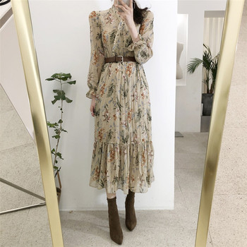 BGTEEVER Elegant V-neck Floral Printed Women Dress Flare Sleeve A-line Female Chiffon Dress 2019 Vintage Women Midi Vestidos 1