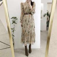BGTEEVER Elegant V-neck Floral Printed Women Dress Flare Sleeve A-line Female Chiffon Dress 2019 Vintage Women Midi Vestidos