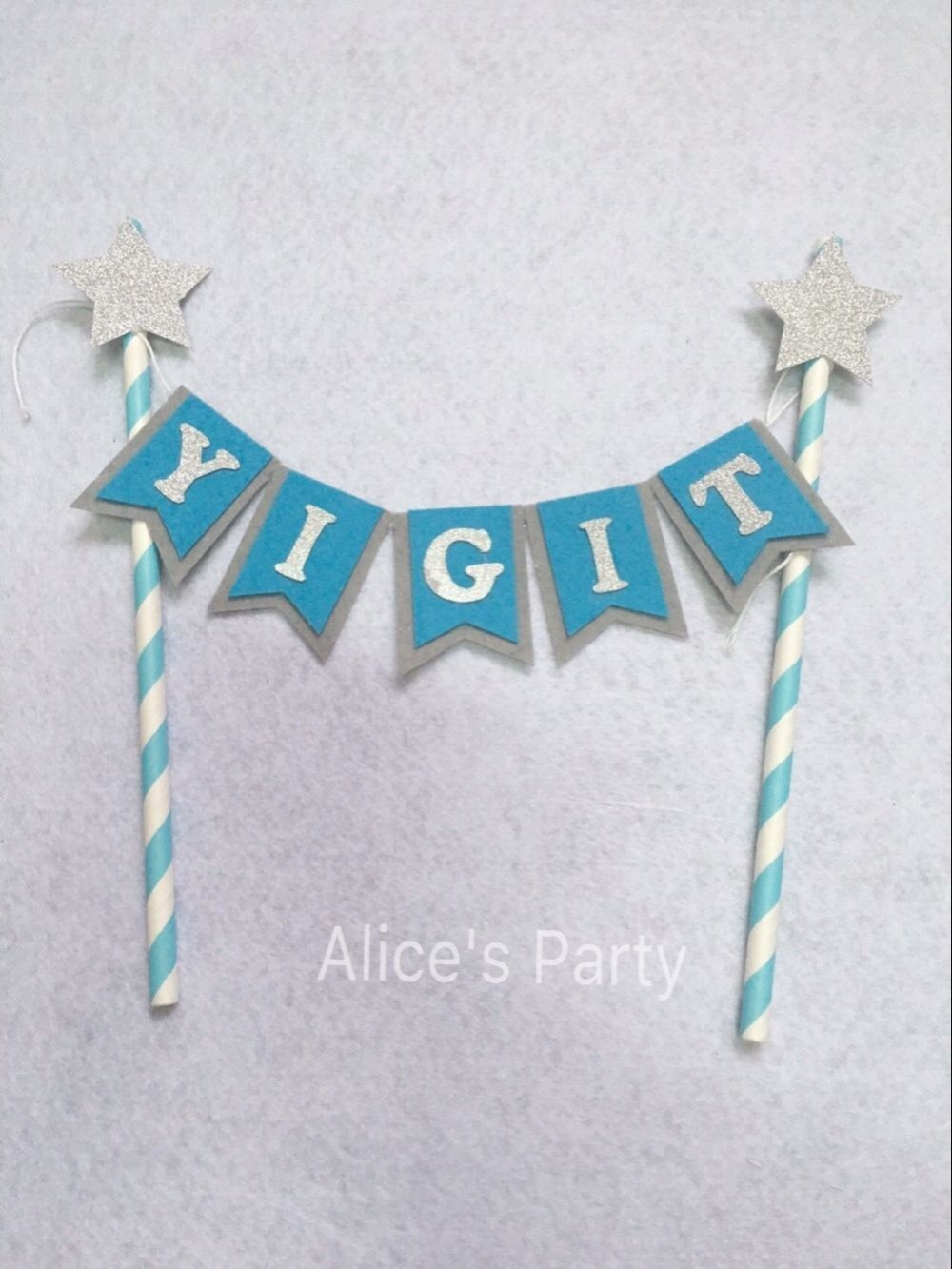 Black With Silver Stars Personalised Christmas Bunting Party Banner
