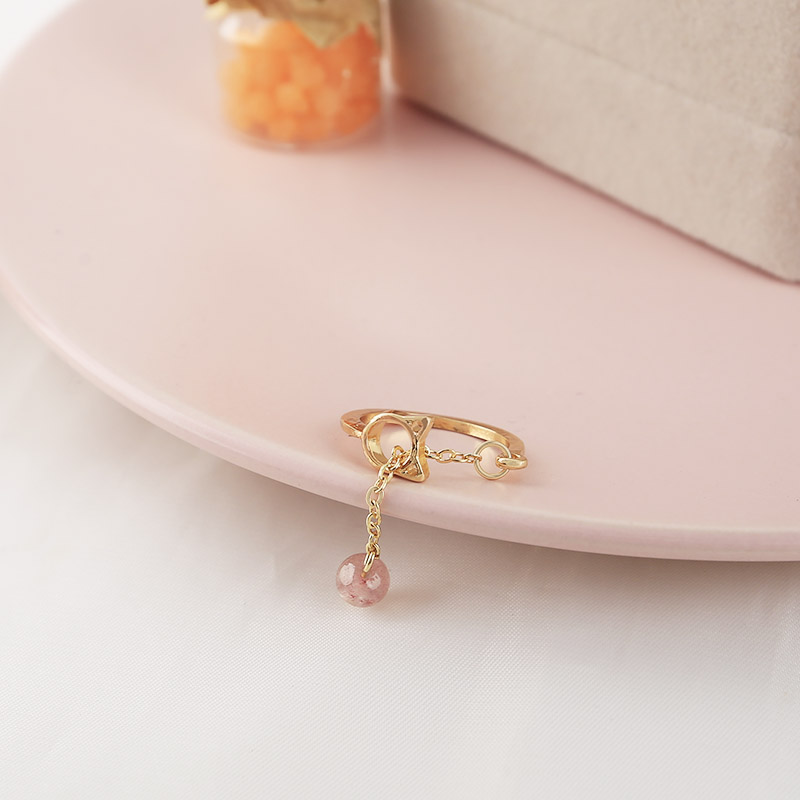 SANSUMMER New Hot Fashion Golden Adjustable Cutout Cat Girl Cute Pendant Pink Stone Exquisite Personality Ring Woman Jewelry in Rings from Jewelry Accessories