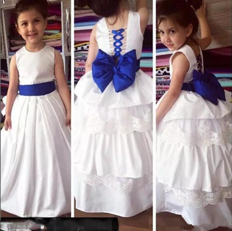 White/Ivory Flower Girl Dress for Wedding Party Jewel Neck Bow Lace Kids Pageant Dresses Christmas Formal Gown