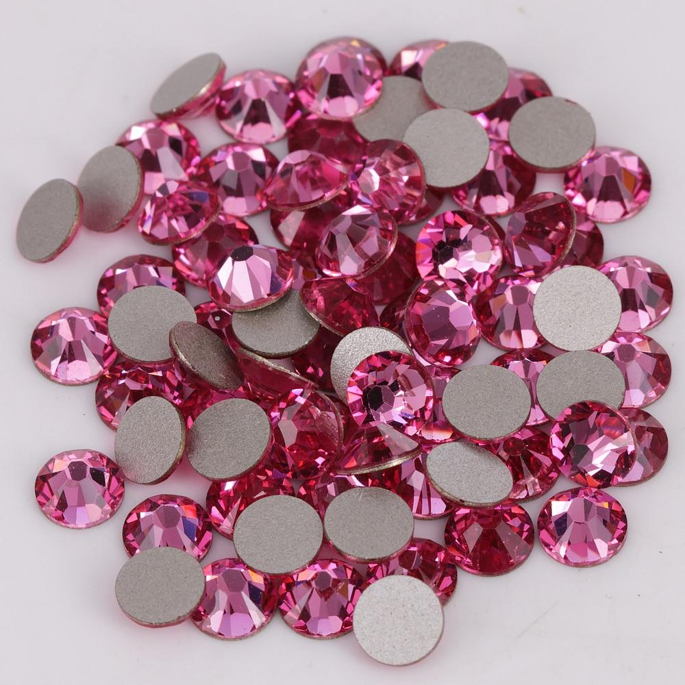 Good Quality Ss3-ss34 Rose Flat Back Nail Art Glue On Crystal Stones / Non Hotfix Rhinestones
