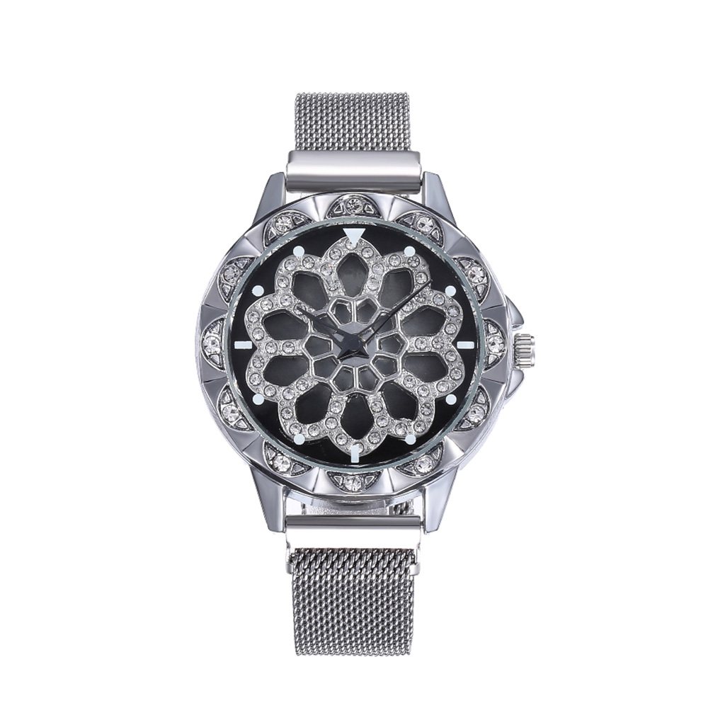 Women Analogue Quartz Watch Fashion Unique Design Hollow Flower Diamond Waterproof Watch With Rotating Diamond Dial #SS50