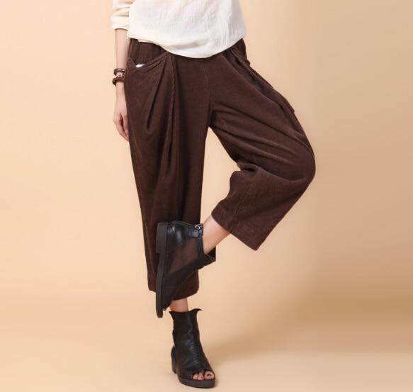 2a2a6ac613016 Corduroy pants for women plus size elastic waist spring autumn brown black  loose wide leg pants trousers casual capris ayl0601