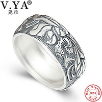 V YA Pure 925 Sterling Silver Rings Flower Pattern New Fashion 100 S925 Solid Sterling Silver