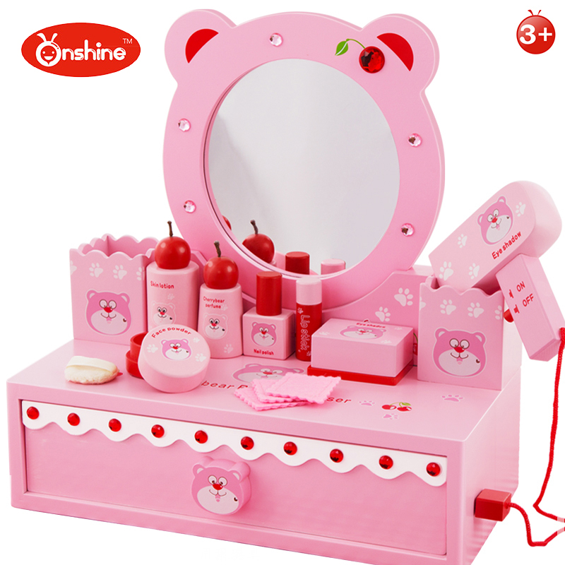 Toys Set Gift For Girl Cherry Bear Dresser Toy Wooden Artificial Play House Game Educational Dressing Tables Model Building Kits mother garden high quality wood toy wind story green tea wooden kitchen toys set